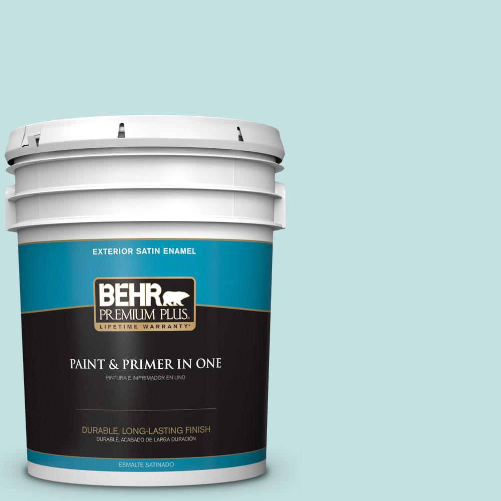 5 gal. #T17-04 Peek a Blue Satin Enamel Exterior Paint