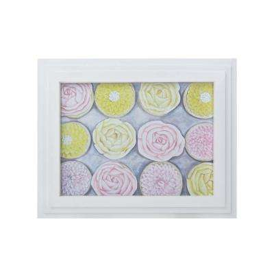 """27 in. x 21 in. """"Rose Cupcakes"""" Hand Painted Framed Canvas Wall Art"""
