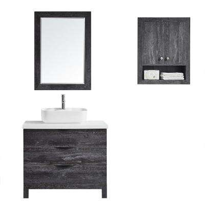 Spencer 36 in. W x 20 in. D Bath Vanity in Grey with Quartz Vanity Top in White with White Basin and Mirror