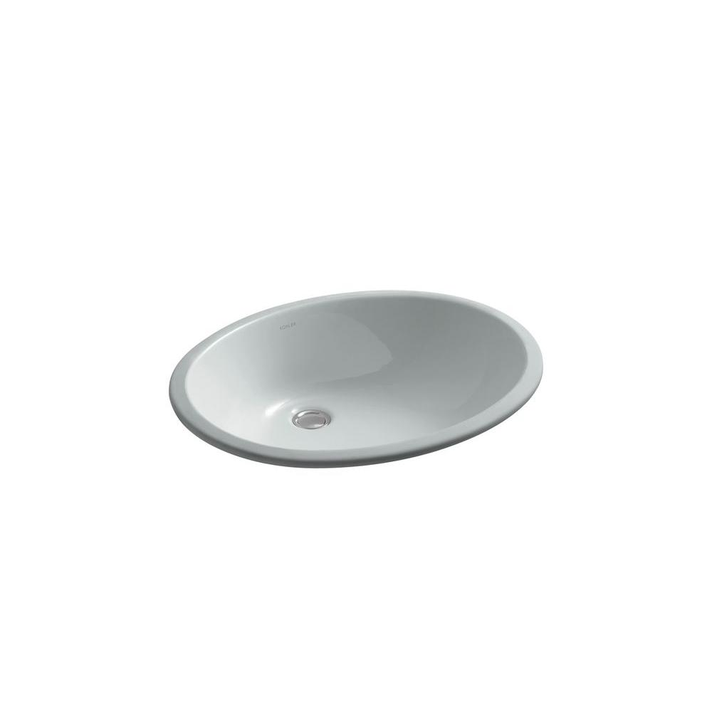 KOHLER Caxton Vitreous China Undermount Bathroom Sink in Ice Grey with Overflow Drain
