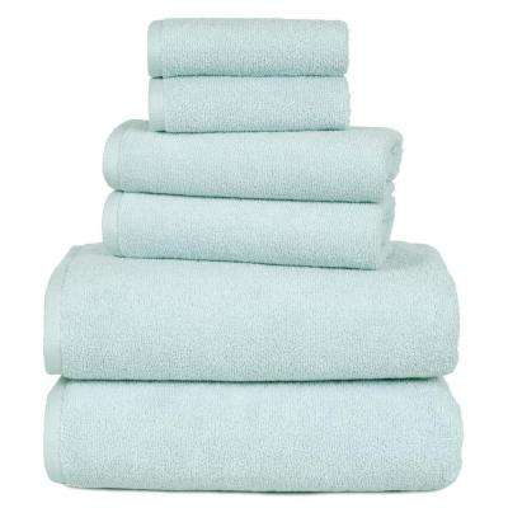 100% Egyptian Cotton Zero Twist Towel Set in Seafoam (6-Piece)