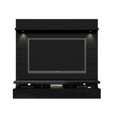 Cabrini 71 in. Black Gloss and Black Matte Entertainment Center with 3 Drawer Fits TVs Up to 60 in. with Wall Panel