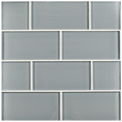 Tessera Blue Smoke 3 in. x 6 in. Glass Subway Wall Tile (1 sq. ft. / pack)