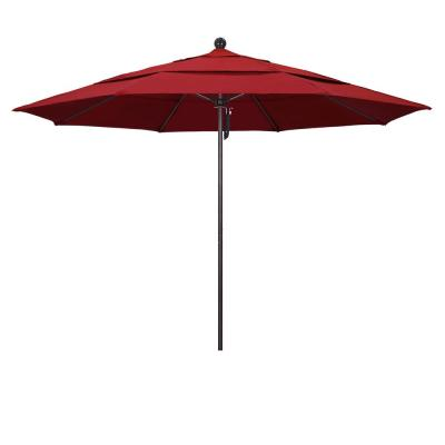 11 ft. Bronze Aluminum Market Fiberglass Ribs Push Open Outdoor Patio Umbrella in Red Olefin