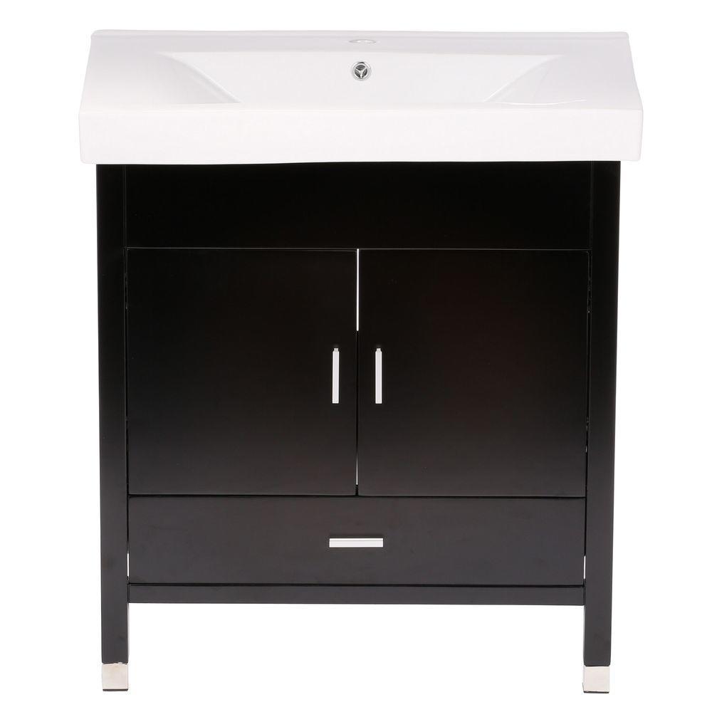 Bellaterra Home Odessa S 32 in. W Single Vanity in Black with Porcelain Vanity Top in White