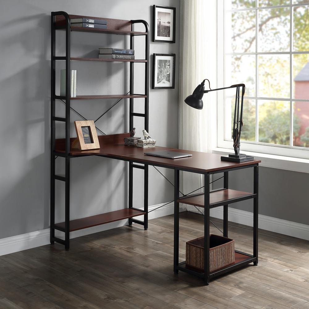 Brown Home Office Computer Desk with Open Bookshelf
