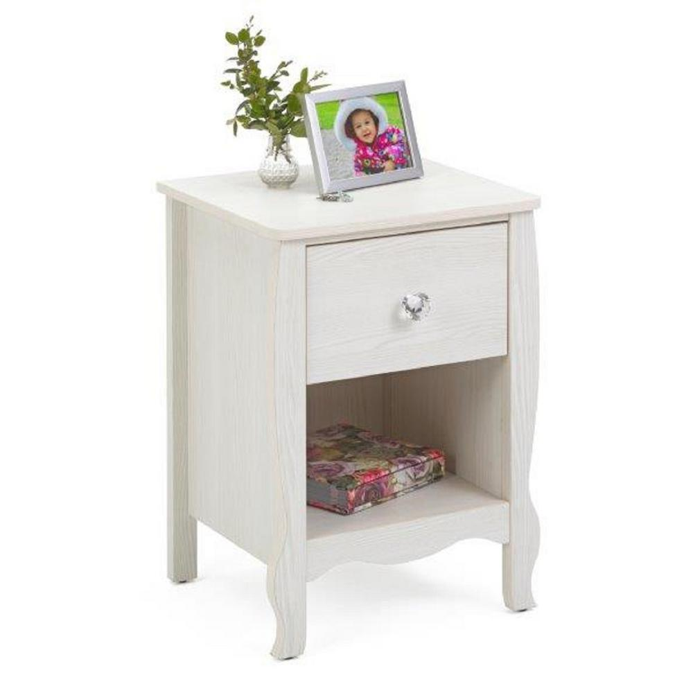4D Concepts Lindsay 1 Drawer White Nightstand