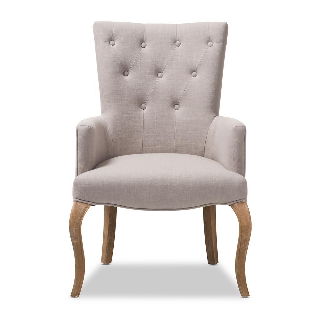 Baxton Studio Clotille Beige Fabric Upholstered Lounge