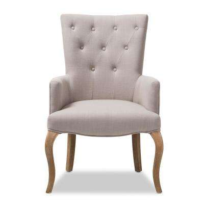 Clotille Beige Fabric Upholstered Lounge Chair
