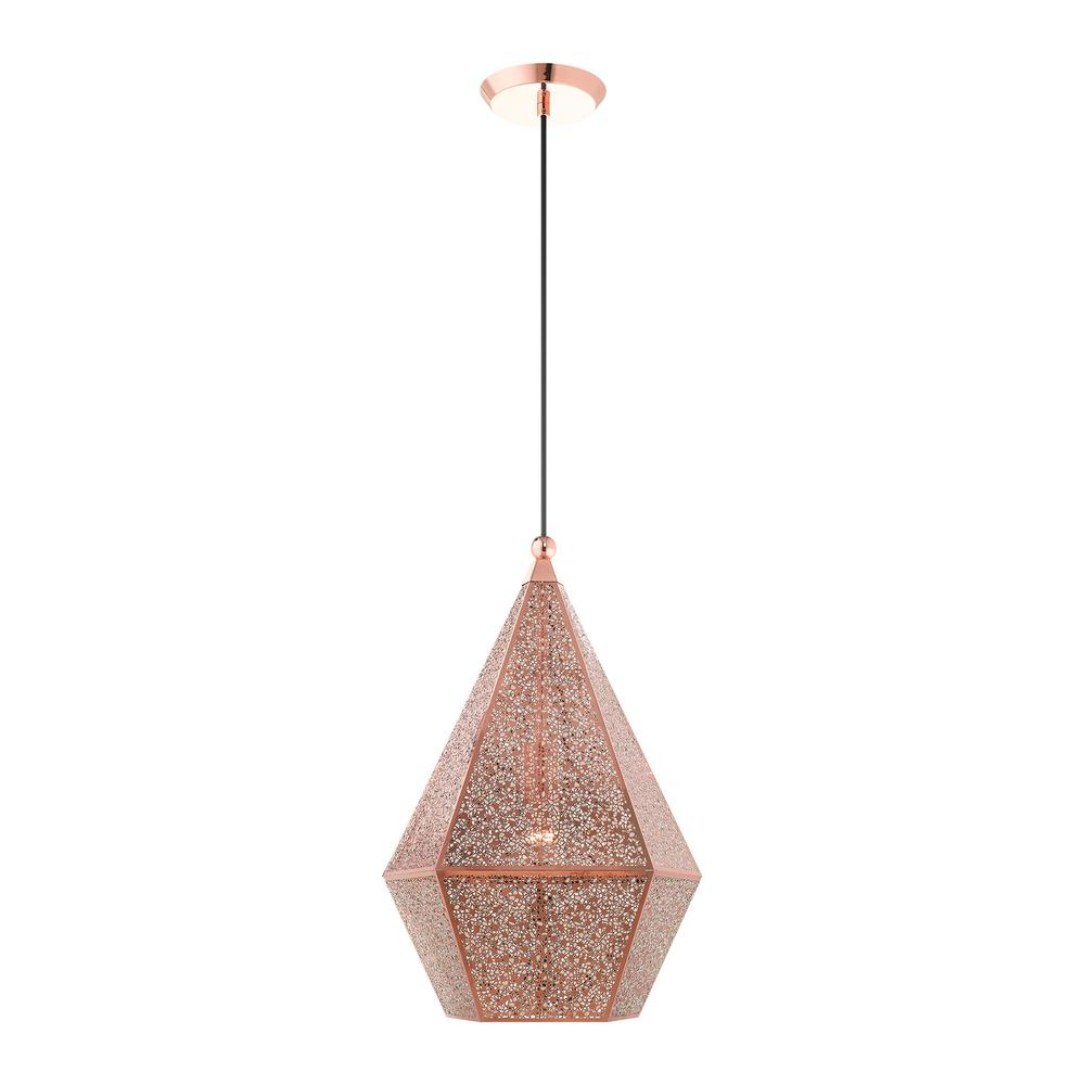 Livex Lighting Aberdeen Large 1 Light Rose Gold Pendant With Metal Shade