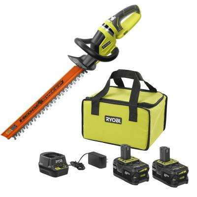 18-Volt ONE+ High Capacity 4.0 Ah Battery (2-Pack) Starter Kit with Charger and Bag with FREE ONE+ Hedge Trimmer