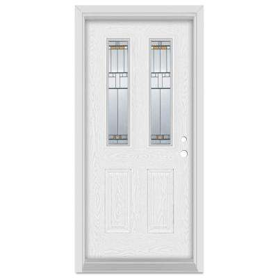 33.375 in. x 83 in. Architectural Left-Hand Patina Finished Fiberglass Oak Woodgrain Prehung Front Door Brickmould