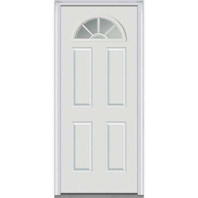 32 in. x 80 in. Classic Right-Hand Inswing Fan-Lite Clear 4-Panel Primed Steel Prehung Front Door on 6-9/16 in. Frame