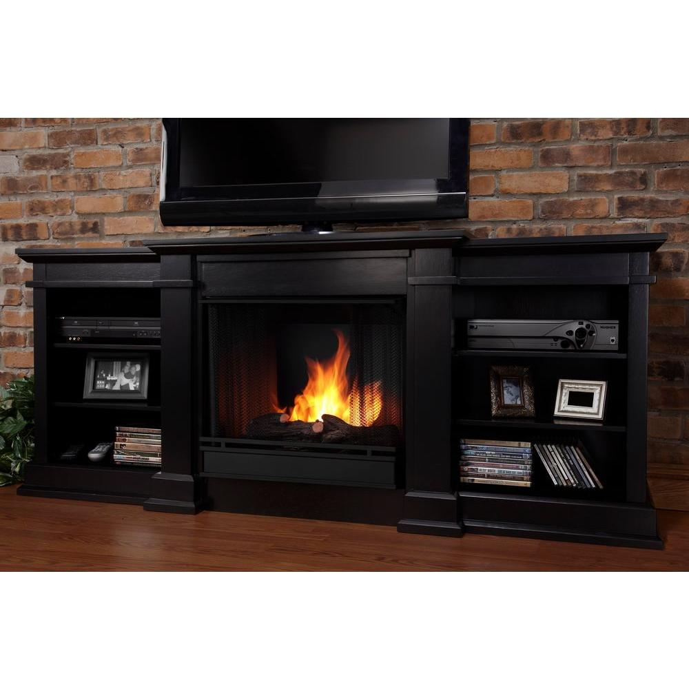 real flame fresno 72 in media console gel fuel fireplace in black