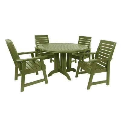Weatherly Dried Sage 5-Piece Recycled Plastic Round Outdoor Dining Set