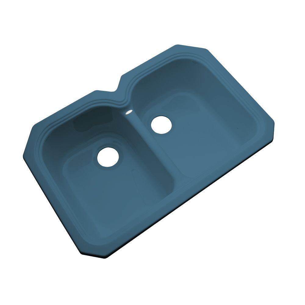 Thermocast Hartford Undermount Acrylic 33x22x9 in. 0-Hole Double Basin Kitchen Sink in Rhapsody Blue