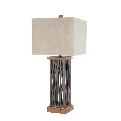 Ronan 29 in. Brown Table Lamp with Linen Shade