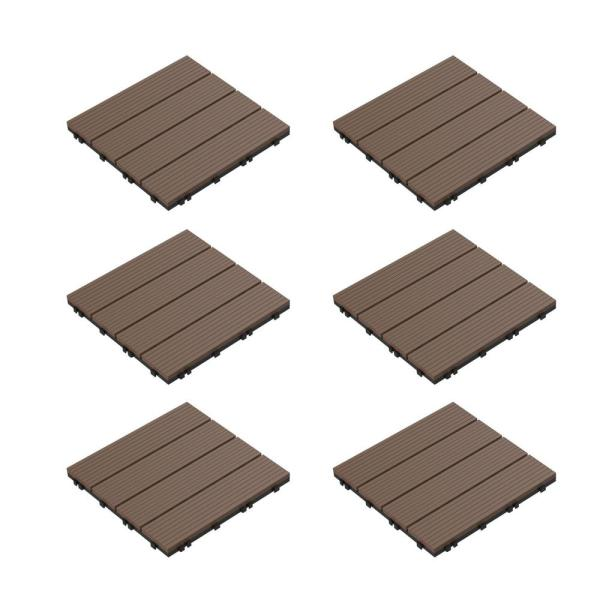 Pure Garden 12 In X 12 In Brown Outdoor Interlocking Slat Polypropylene Patio And Deck Tile Flooring Set Of 6 Hw1500233 The Home Depot