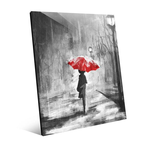Creative Gallery 16 in. x 20 in. ''A Rainy Walk Red