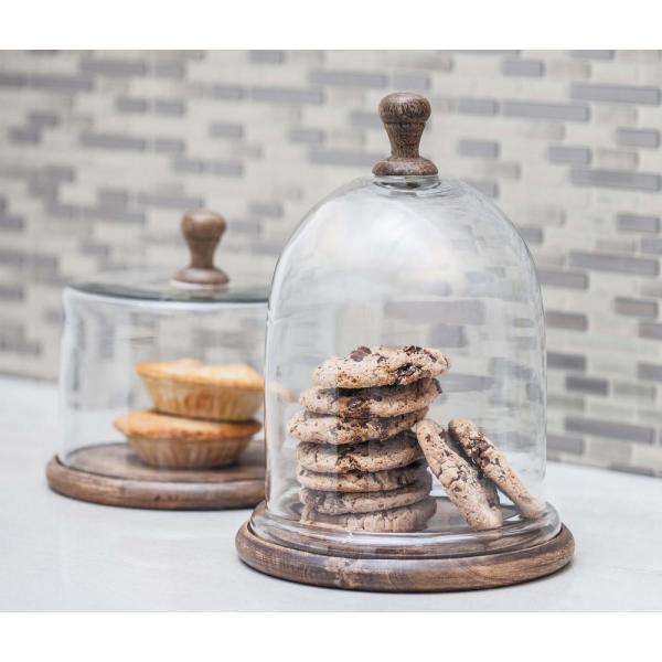 Litton Lane 8 in. x 11 in. Brown Wood and Clear Glass Cloche