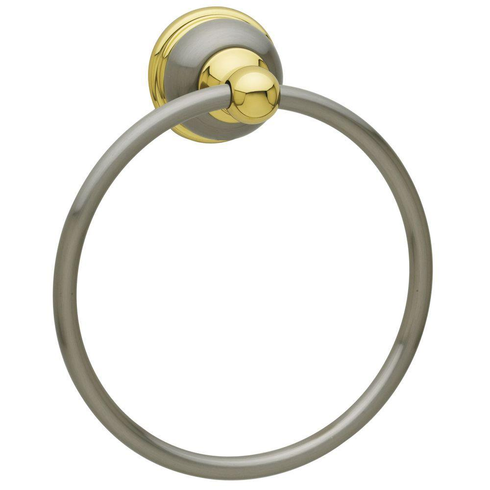 Laguna Towel Ring in Satin Nickel and Polished Brass