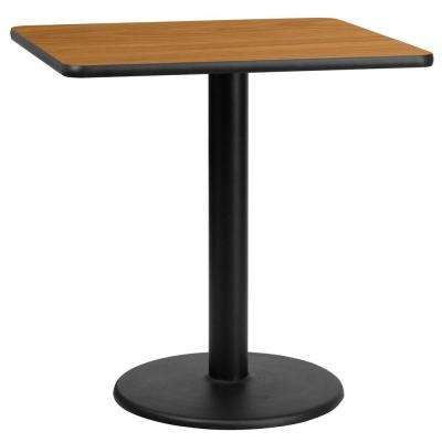 30 in. Square Black and Natural Laminate Table Top with 18 in. Round Table Height Base
