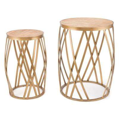Criss Cross Gold Tables (Set of 2)