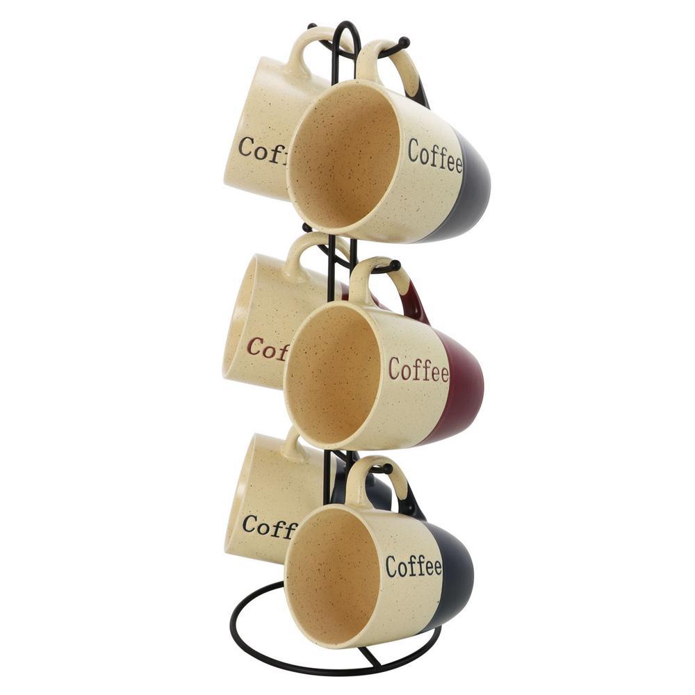 Coffee House 12 oz. Assorted Color Mugs (Set of 6)