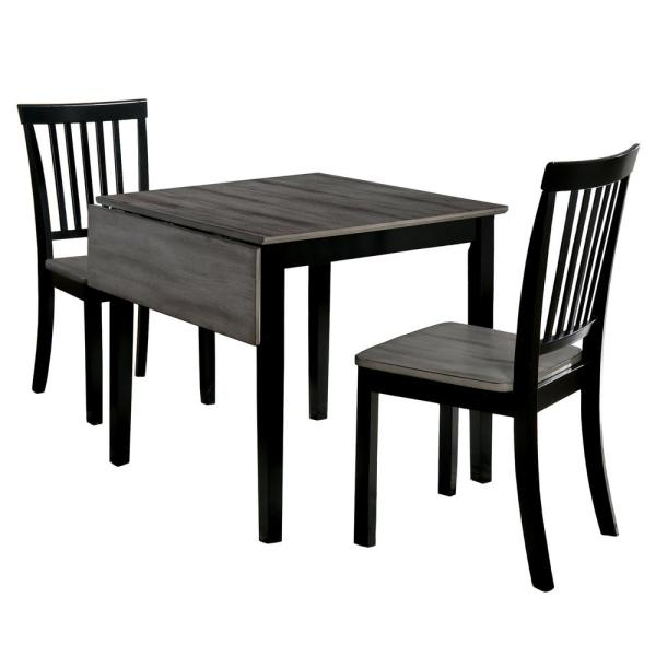 Furniture of America Prida 3-Piece Gray and Black Dining Room Set