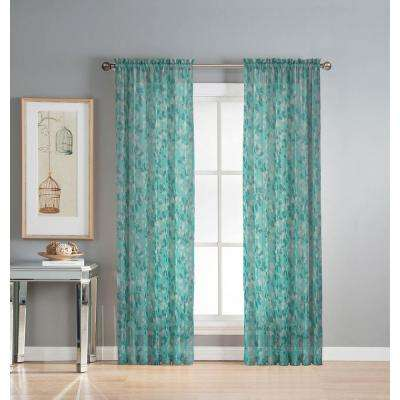 Sheer Pinehurst Printed 54 in. W x 84 in. L Rod Pocket Extra Wide Curtain Panel in Sheer Aqua