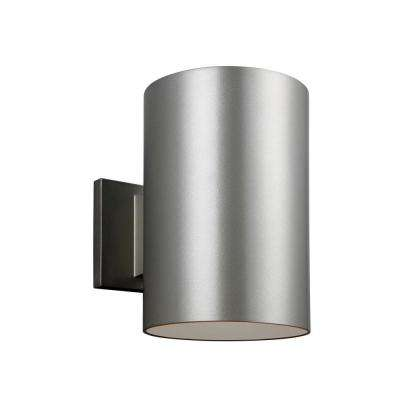 Outdoor wall mounted lighting outdoor lighting the home depot outdoor cylinder collection 1 light painted brushed nickel outdoor wall fixture aloadofball Images