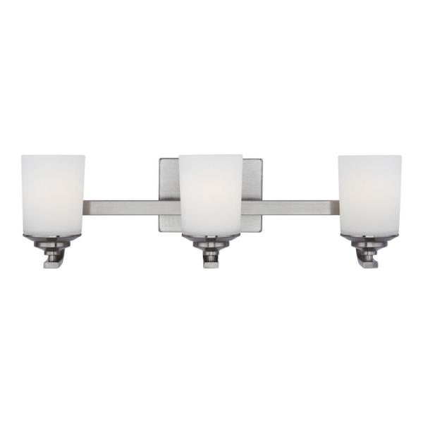 Kemal 24 in. 3-Light Brushed Nickel Vanity Light with Etched White Inside Glass Shades