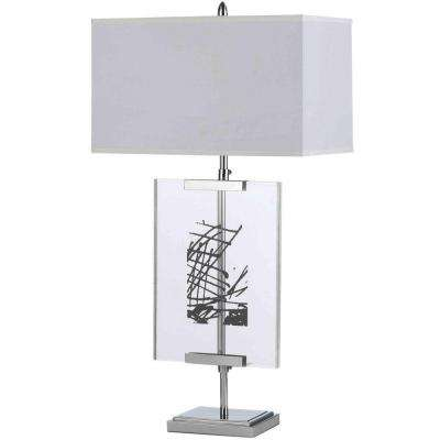 Easel 36 in. Chrome Table Lamp with Interchange Panels and White Shade