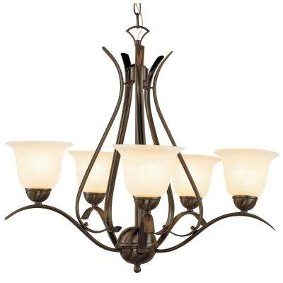 Aspen 5-Light Rubbed Oil Bronze Chandelier with Marbleized Shades