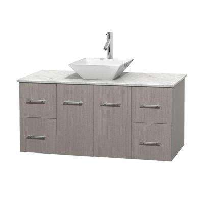 Centra 48 in. Vanity in Gray Oak with Marble Vanity Top in Carrara White and Porcelain Sink
