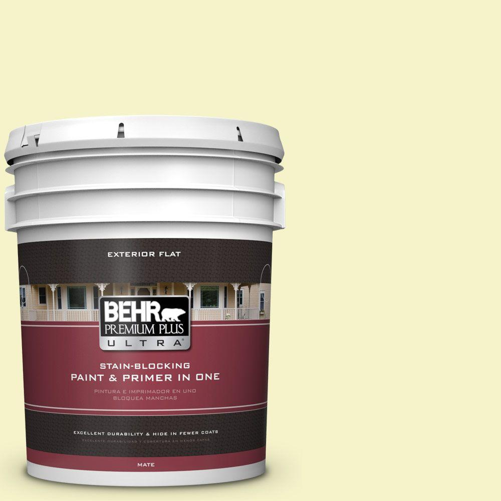 BEHR Premium Plus Ultra 5-gal. #400A-1 Candlelight Yellow Flat Exterior Paint