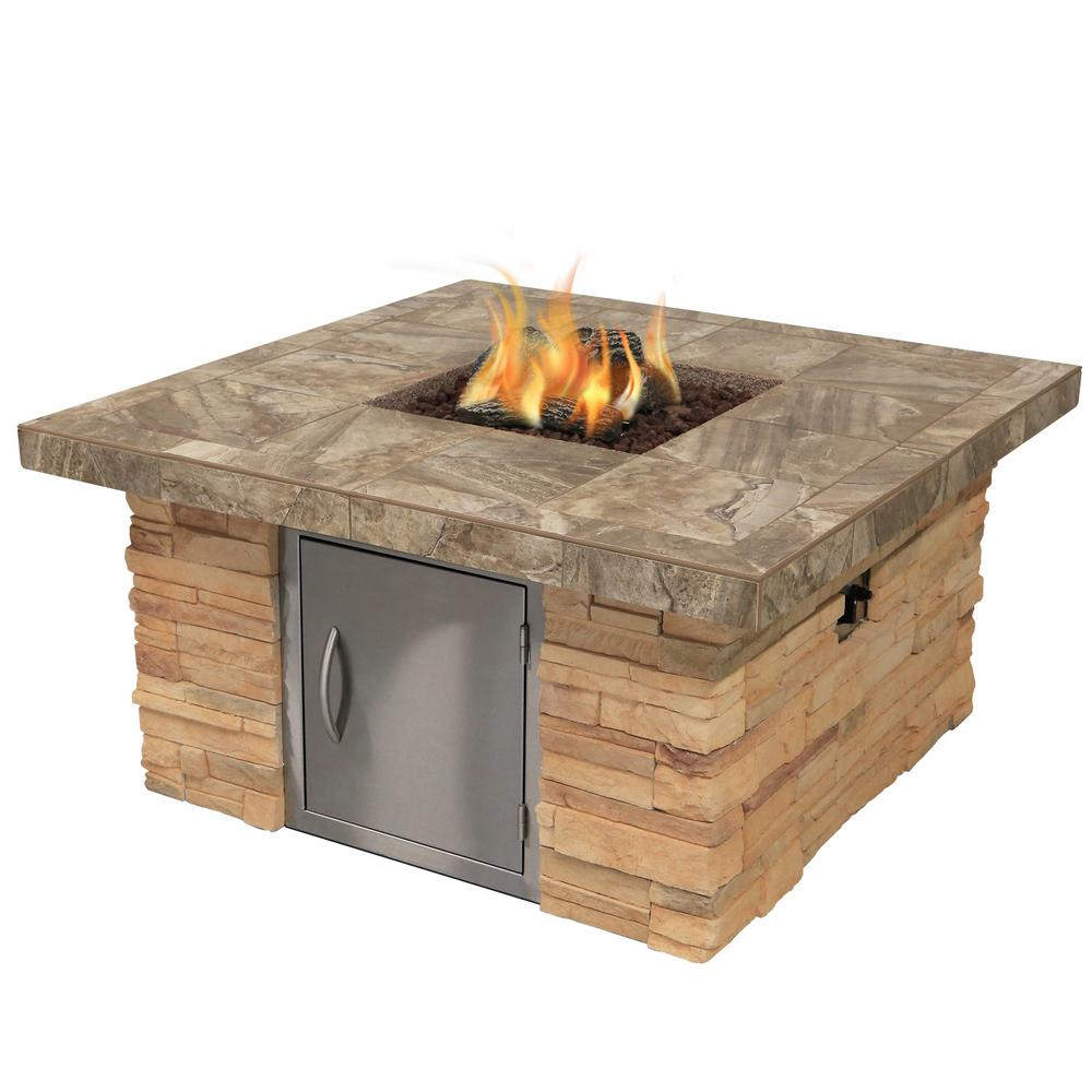 Cal Flame Cultured Stone Gas Fire Pit in Brown with Log Set and Lava Rocks