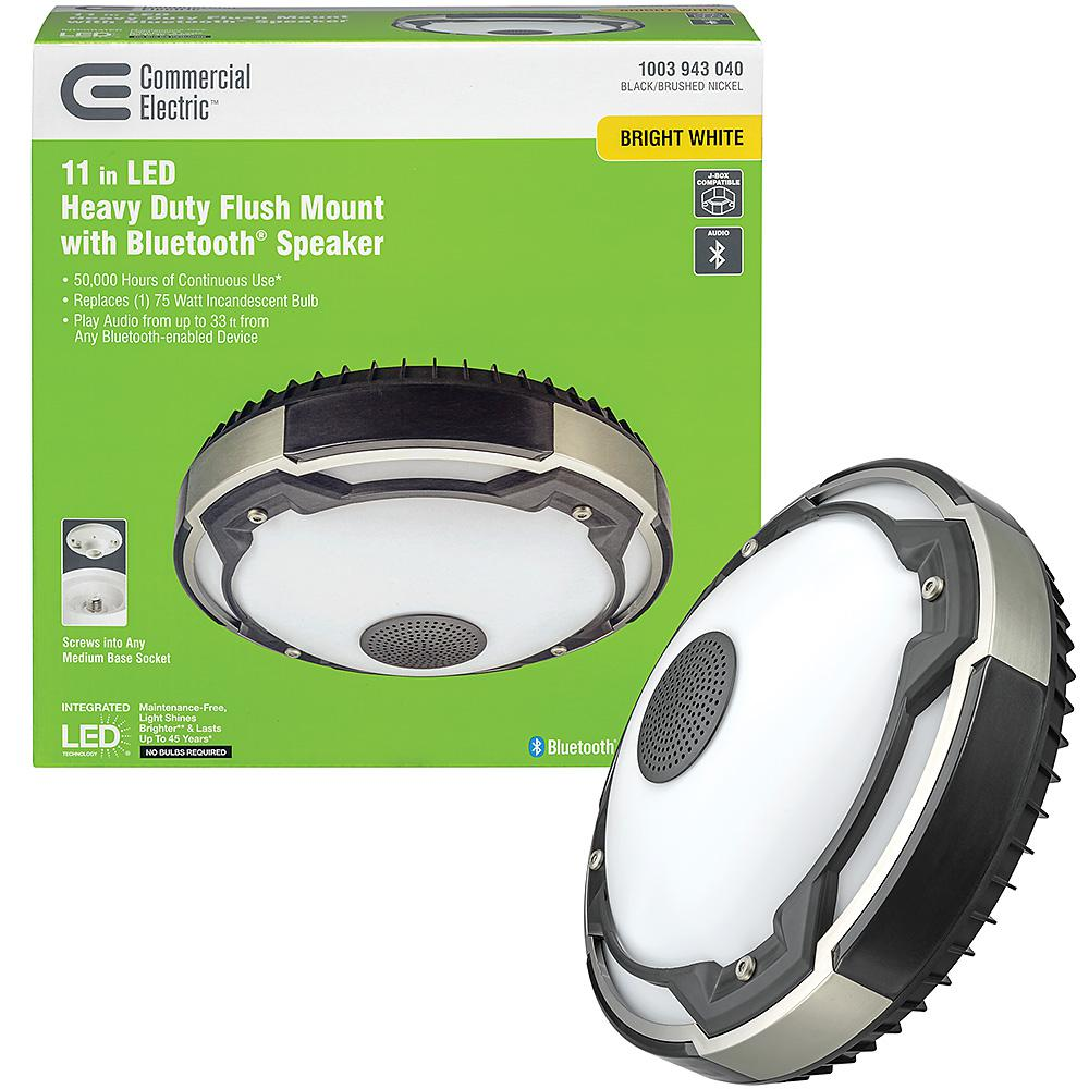 Commercial Electric Spin Light 11 In Heavy Duty Led Flush Mount Ceiling Light With Bluetooth Speaker 1000 Lumens 4000k Audio Range 33 Ft 56516141 The Home Depot