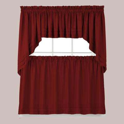 Semi-Opaque Holden 36 in. L Polyester Tier Curtain in Garnet (2-Pack)