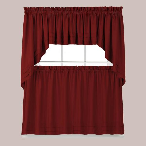 Holden 36 in. L Polyester Tier Curtain in Garnet (2-Pack)