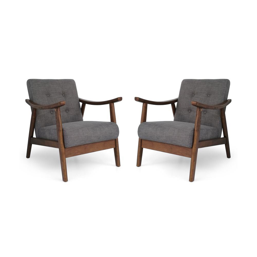 Chabani Mid-Century Modern Tufted Dark Gray Fabric Accent Chairs (Set of 2)