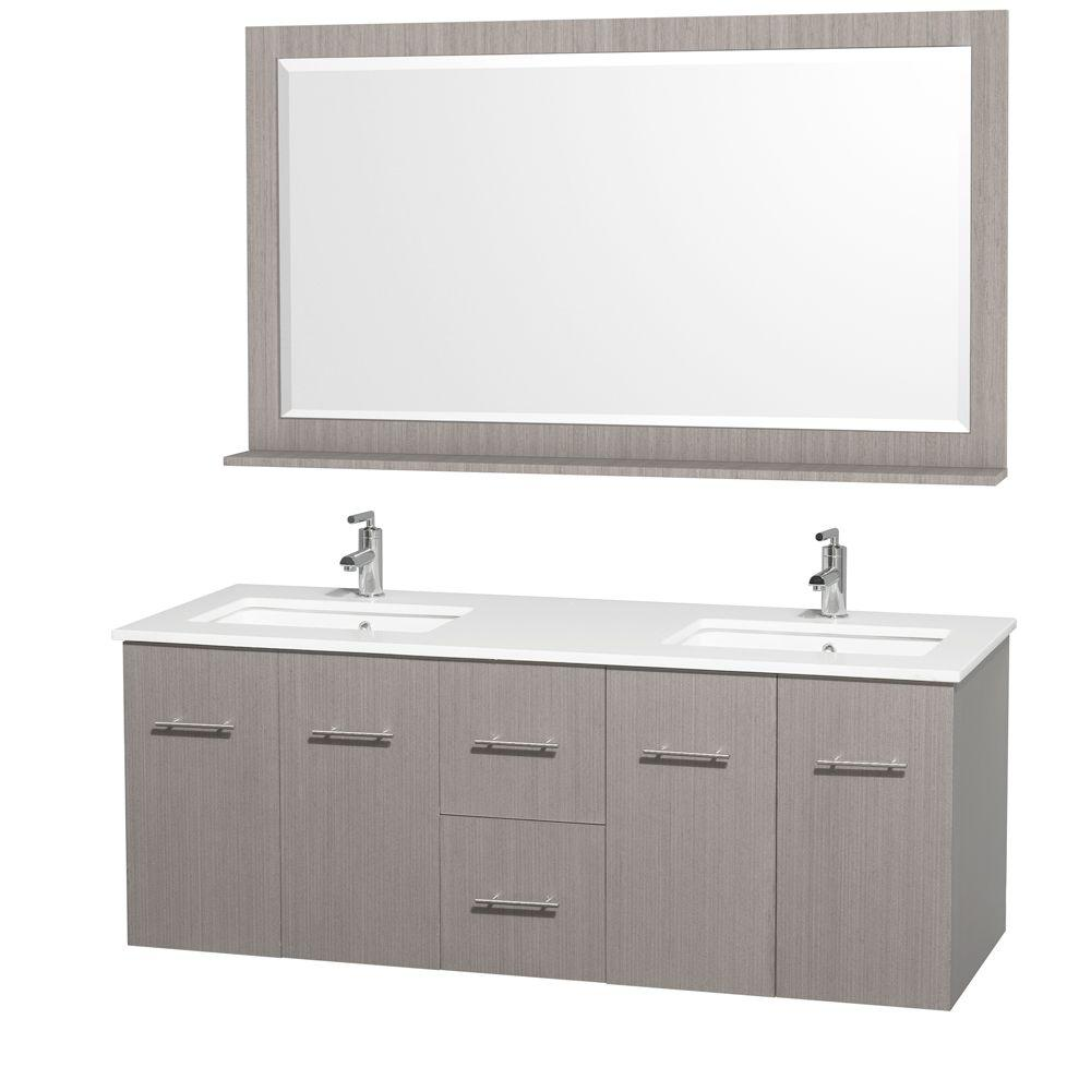 Wyndham Collection Centra 60 in. Double Vanity in Grey Oak with Man-Made Stone Vanity Top in White and Square Porcelain Undermounted Sinks