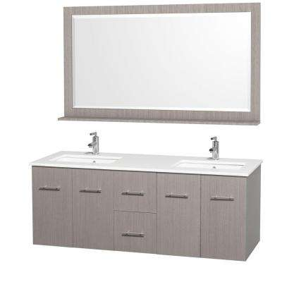 Centra 60 in. Double Vanity in Grey Oak with Man-Made Stone Vanity Top in White and Square Porcelain Undermounted Sinks