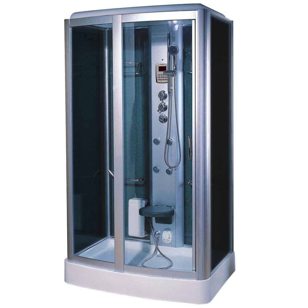 Steam Planet 47 in. x 33 in. x 87 in. Steam Shower Enclosure Kit in Black Back and Side Wall Blue Front Glass and White-DISCONTINUED