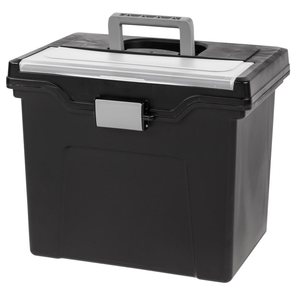 IRIS 24 Qt. Portable Letter Size File Storage Box In Black 110977   The  Home Depot