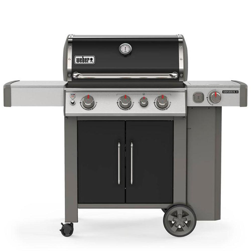 Weber Genesis II E-335 3-Burner Propane Gas Grill in Black with Built-In Thermometer and Side Burner