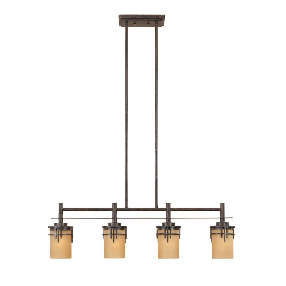 Mission Hills Collection 4-Light Warm Mahogany Hanging Island Light