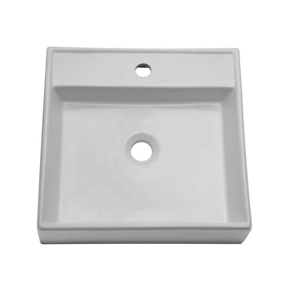 4f549633612 Glacier Bay Zale Round Vessel Sink in White-13-0089-W - The Home Depot