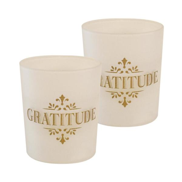 Gold Gratitude Battery Operated LED Candles (2-Count)