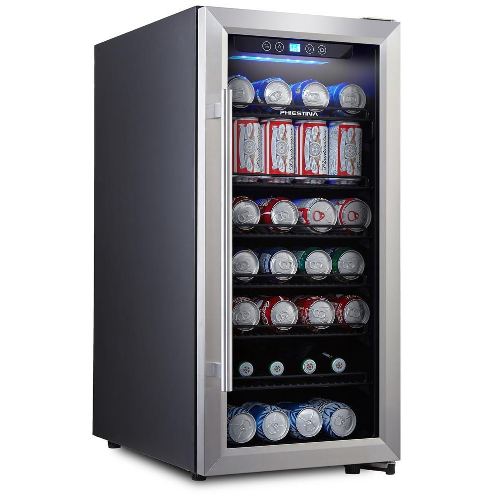 106 Can Compressor Beverage Cooler Stainless Steel and Glass Door with